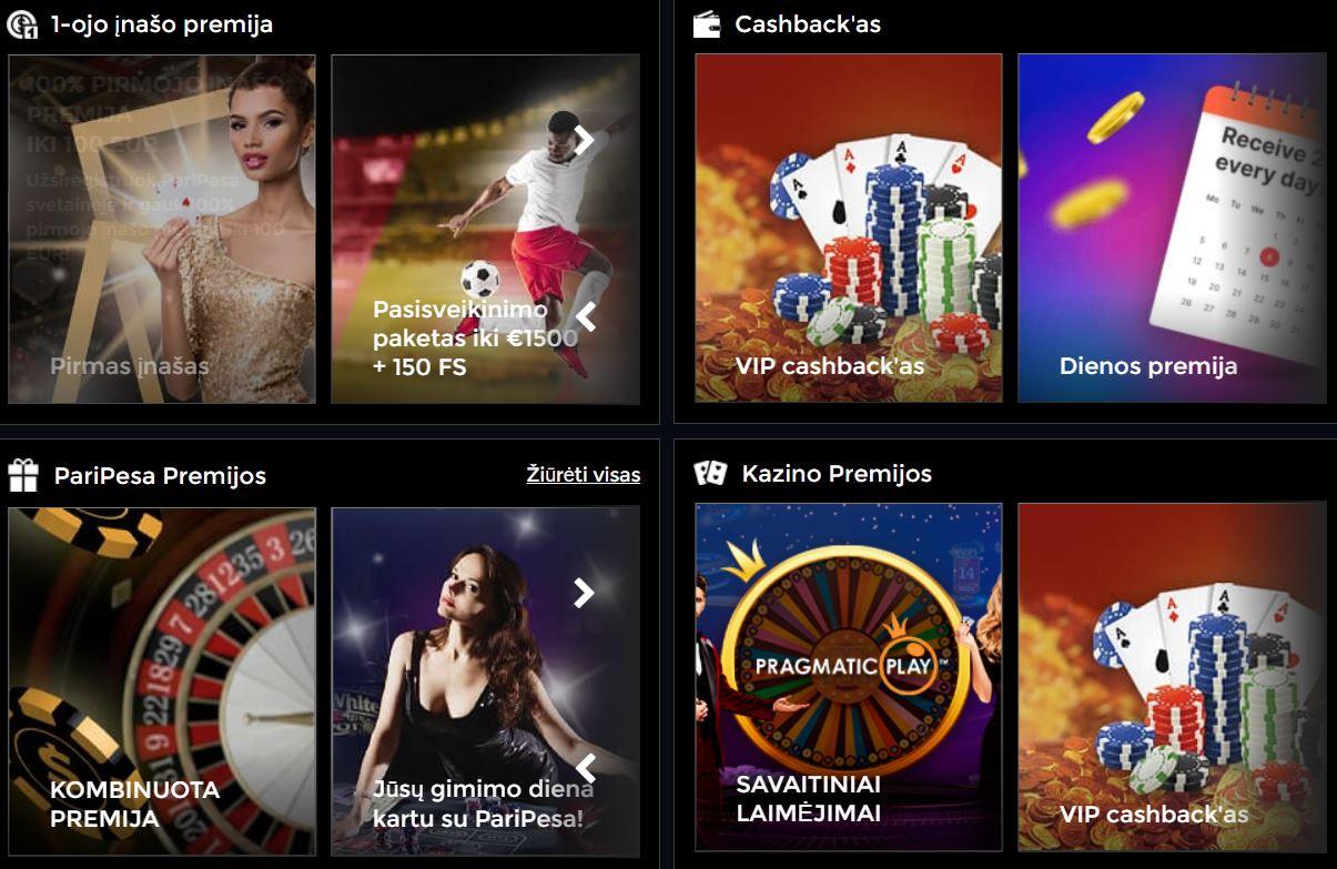 paripesa premija cashback kazino